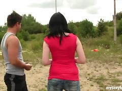 Dark haired cutie lets the hot guy fuck her outdoors porn tube video