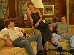 MILF in crotchless panties get DP'd by a couple of hung guys