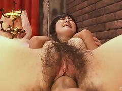 Asian hairy bimbo has her aching cunnie played with and penetrated porn tube video