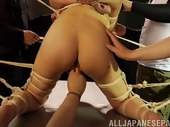 Crazy rope bondage and nipple torture in a Japanese dungeon