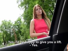Horny blonde babe Angella Christyn rides strangers cock inside the car