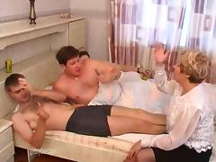 In the bedroom she is triple fucked by three hung guys porn tube video