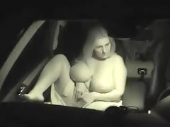 Horny huge titted BBW getting slamming in a car