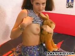 Amateur girlfriend toying and sucking dick with facial tube porn video