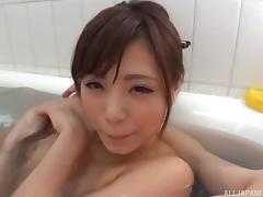 Wonderful Asian hottie receives a facial and gives a rimjob