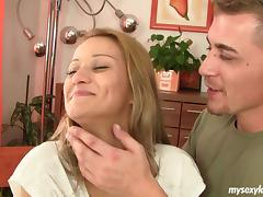 Shaved blonde GF loves pleasing her big dick man with hot blowjobs