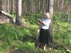 Soldier finds an old lady in the woods and fucks her tube porn video