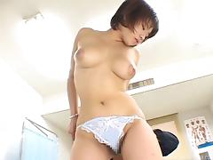 Chunky Asian slut giving a titjob and receives a massive facial