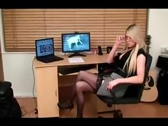 Horny blonde TS watches porn and strokes