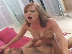 Dude squeezes babe's big tits while he pounds her