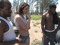 Brunette vixen gets double teamed by two black studs outdoors porn tube video