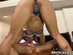 Nice ass brunette babe sits on a hard cock after sucking it hardcore