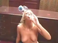 Trinity James drinks cum