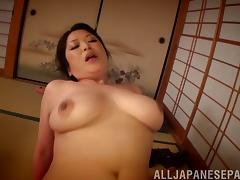 Chubby Asian MILF shows off her skills on the cock