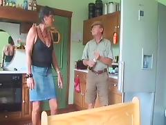 Dirty grandma offers her mouth and pussy to two guys