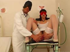 Kinky visit to the doctor gets this dirty whore fucked in the ass tube porn video