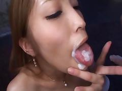 Vixenish Asian milf swallows cum after an erotic pussy drilling porn tube video