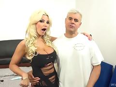 Blonde Brittany wears fishnets while enjoying his hard cock