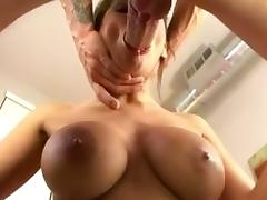 Busty Milf deepthroats and gags a big white cock