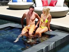 Big tits blonde bikini babe showers with the guy she needs