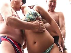Gabrielle entertains a few old men on their fishing trip...
