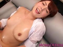 Busty asian milf bodyslides before cumshot