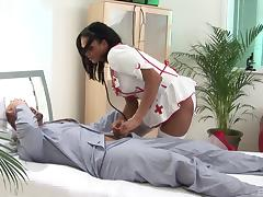 Talented nurse uses that tight pussy and big tits to heal her patient