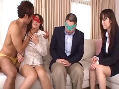 Blindfolded, Asian, Blindfolded, Couple, Foursome, Fucking