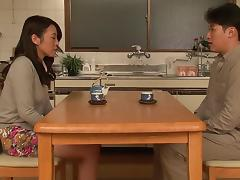 Asian housewife in a cardigan has an erotic affair