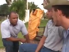 Black hunk gay fucks a cowboy in the outdoors tube porn video