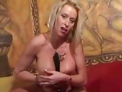 Blonde milf fucks her asshole with a toy tube porn video
