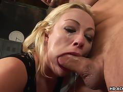 hot blonde takes hard dick in her mouth