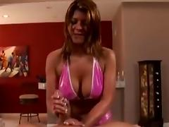 Big tit redhead gives slippery cook jerking