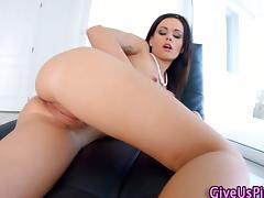 Classy babe rub her pussy