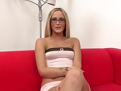 Handjob from a glasses girl with small tits is very sexy porn tube video
