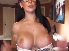 Whore with fake pantoons on webcam