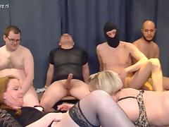Two German mature mothers gangbanged by many young cocks