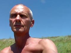 Amateur gay porn shows old dude posing in the outdoors porn tube video