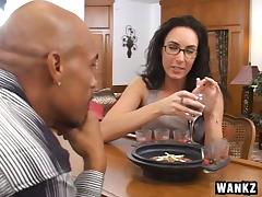Stocking-clad brunette with a pierced pussy enjoying an awesome interracial fuck