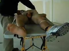 Twenty y.o. tied tickled and milking