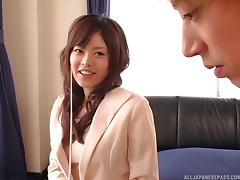 Pervy Japanese teacher moans loudly while fucking her hunky student