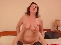Chunky Russian mature redhead taking a vigorous and deep dicking
