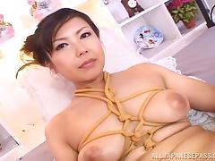 Super busty Asian MILF likes light bondage and all things kinky porn tube video
