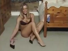 Bedpost and Dildo masturbation
