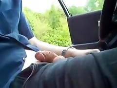 Reststop jerk-off in car porn tube video