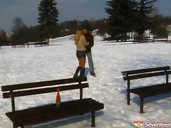Wild mini-skirt clad teen with great juggs enjoying a hardcore doggy style fuck