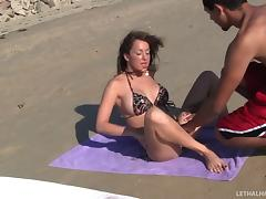 Pretty bikini-clad slut with gorgeous juggs getting her pussy and asshole licked