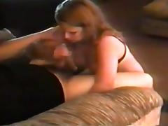 milf gives handjob and puts cock between her huge tits