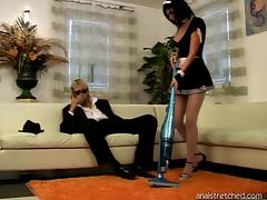 Randy slut of a maid loves getting her asshole pumped by blond stud in glasses