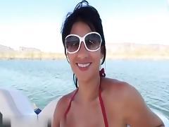 Hot brunette gagging outdoors